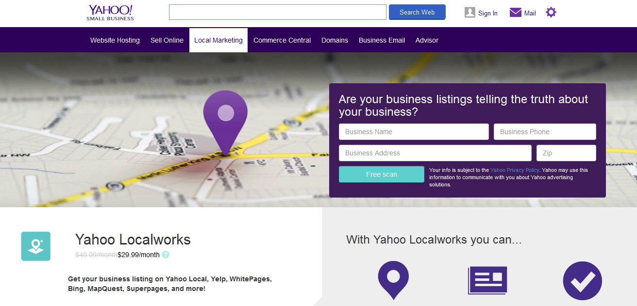 yahoo free business listing