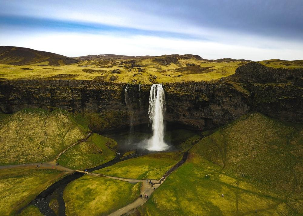 aerial photo of waterfall