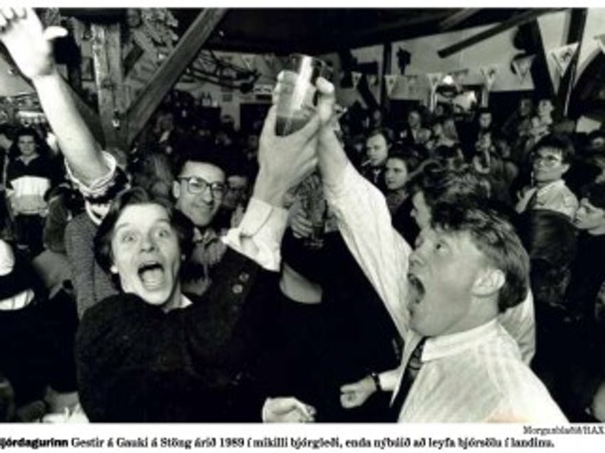 First legal beer in Iceland celebration in 1989!