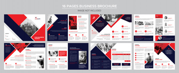 16 pages business brochure Premium Psd